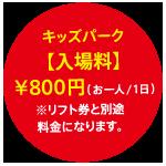 キッズパーク入場料お一人一日800円 リフト券と別途料金になります。