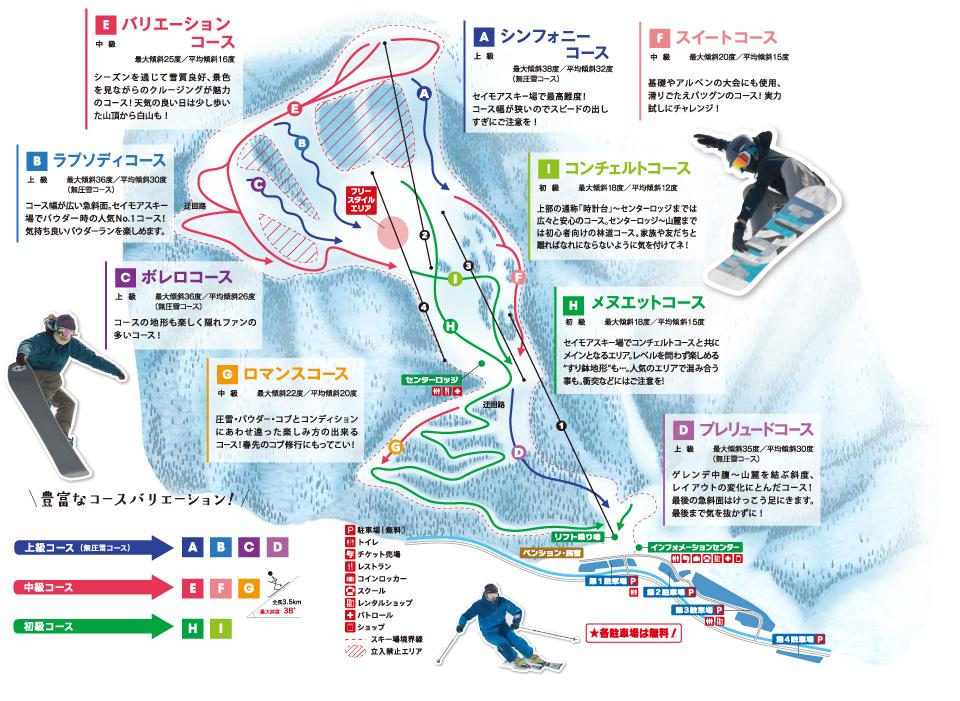 Aシンフォニーコース:上級。最大傾斜38度/平均傾斜32度(無圧雪コース)。セイモアスキー場で最高峰!コース幅が狭いのでスピードの出し過ぎにご注意を! Bラブソディコース:上級。最大傾斜36度/平均傾斜30度(無圧雪コース)。コース幅が広い急斜面。セイモアスキー場でパウダー時の人気ナンバーワンコース!気持ちいいパウダーランを楽しめます。 Cボレロコース:上級。最大傾斜36度/平均傾斜26度(無圧雪コース)。コースの地形も楽しく隠れファンの多いコース! Dブレリュードコース:上級。最大傾斜35度/平均傾斜30度(無圧雪コース)ゲレンデ中腹〜山麓を結ぶ傾斜、レイアウトの変化にとんだコース!最後の急斜面はけっこう足にきます。最後まで気を抜かずに! Eバリエーションコース:中級。最大傾斜25度/平均傾斜16度。シーズンを通じて雪質良好、景色を見ながらのクルージングが魅力のコース!天気の良い日は少し歩いた山頂からの白山も! Fスイートコース:中級。最大傾斜20度/平均傾斜15度。基礎やアルペンの大会にも使用、滑りごたえバツグンのコース!実力試しにチャレンジ! Gロマンスコース:中級。最大傾斜22度/平均傾斜20度。圧雪、パウダー、コブとコンディションにあわせ違った楽しみ方の出来るコース!春先のコブ修行にもってこい! Hメヌエットコース:初級。最大傾斜16度/平均傾斜15度。セイモアスキー場でコンチェルトコースと共にメインとなるエリア。レベルを問わず楽しめるすり鉢地形も…。人気のエリアで混み合うことも。衝突などにはご注意! Iコンチェルトコース:初級。最大傾斜18度/平均傾斜12度。上部の通称「時計台」〜センターロッジまでは広々と安心のコース。センターロッジ〜山麓までは初心者向けの林道コース。家族や友達と離ればなれにならないように気をつけてね!