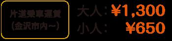 片道乗車運賃(金沢市内から)大人1,300円、小人650円